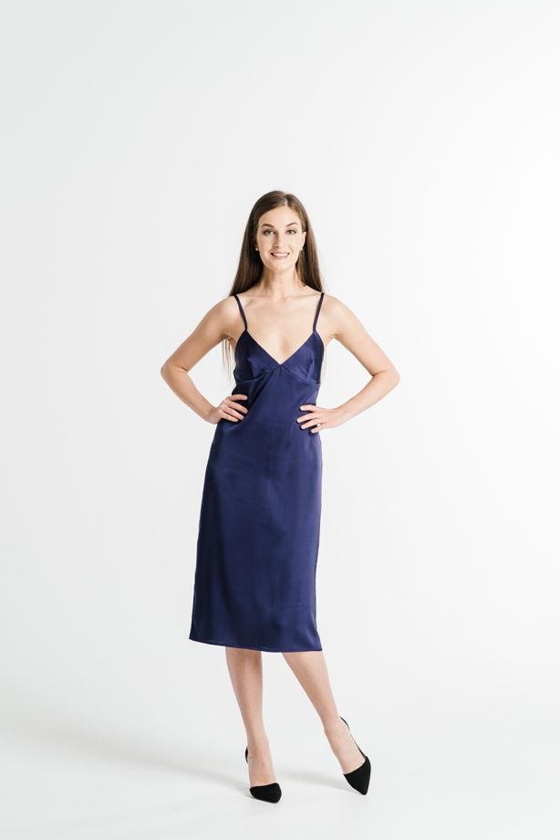 Платье-комбинация в синем цвете