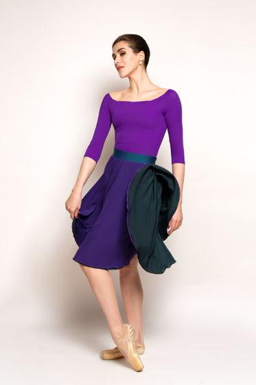 Двусторонняя репетиционная юбка изумрудный-фиолетовый и изумрудный-молочный  для танцев /хореографии