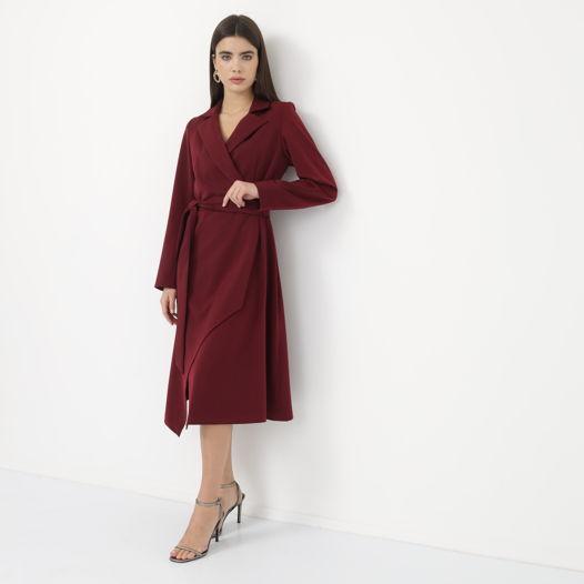 Платье на запах с воротником винное