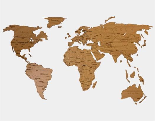 """Деревянная карта мира с гравировкой стран и городов """"Дуб"""" 150x80 cm"""
