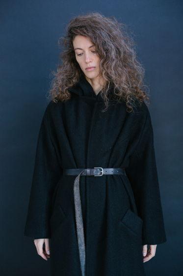 """зимнее длинное шерстяное пальто на подкладке """"иссиня-черное. ворс"""""""