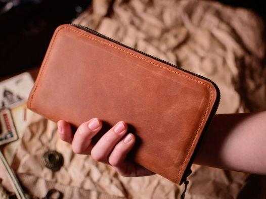 Женский кожаный кошелек -DAISY- ручная работа цвет Коньяк