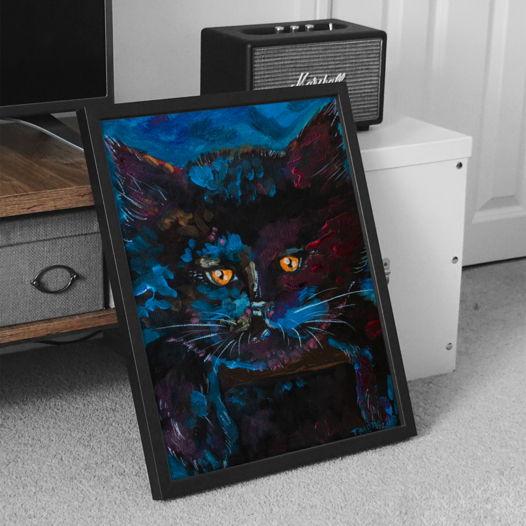 """Портрет кота маслом """"Черный британец"""" (ручная работа)"""