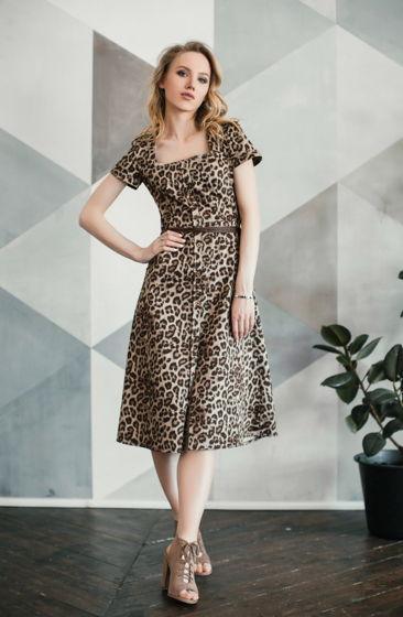 Платье миди леопард