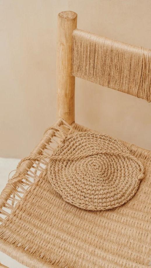 Плоская сумка ручной работы из джута