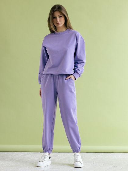Женский сиреневый спортивный костюм: свитшот, брюки