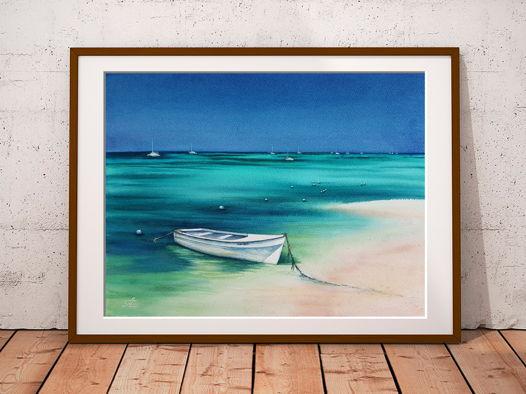 Акварельная картина Белая лодка (38 х 28 см)