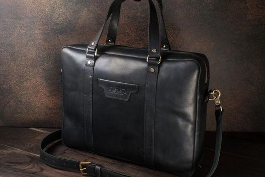 Мужская деловая сумка из кожи -PRESTIGE- цвет Черный