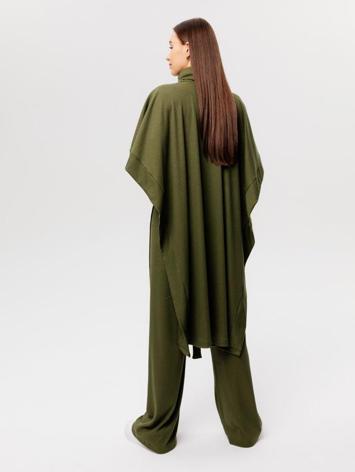Костюм пончо с брюками из материала в рубчик хаки