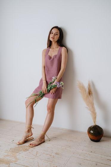 Платье мини в цвете вереск из 100% льна