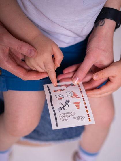 """Временные переводные татуировки MimiToo """"Гонки"""" для детей и взрослых"""