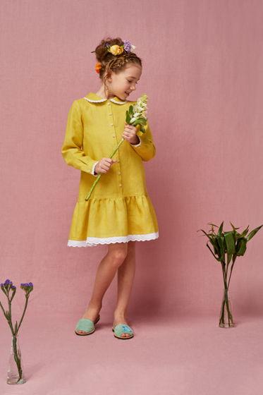 Платье для девочки Анна-царевна (желтый лен)