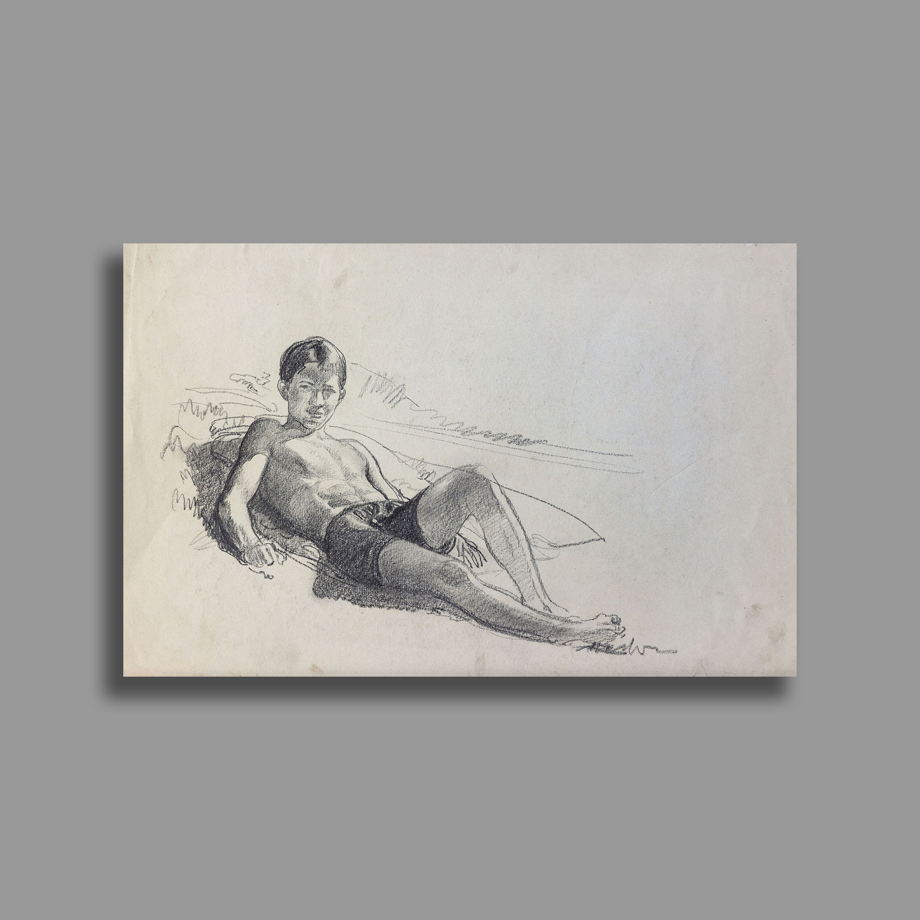 """""""В подень на пляже"""", карандашный рисунок, размер 25х38"""