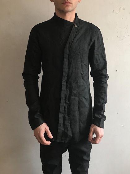 рубашка асимметричная с длинным рукавом льняная