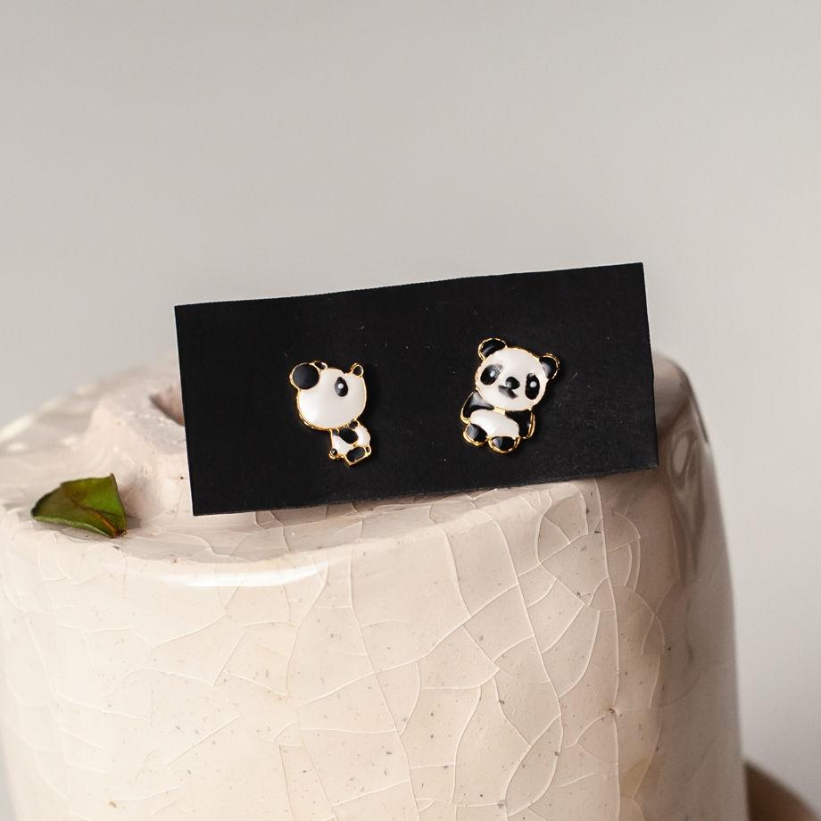 Серьги панда, латунь