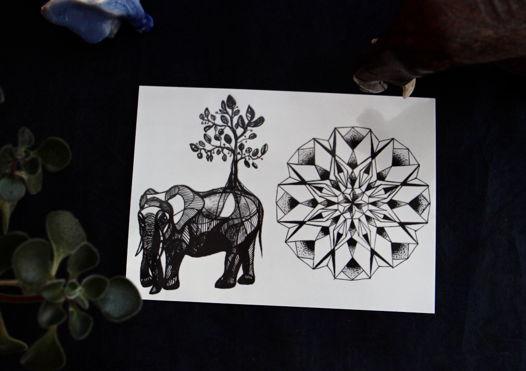 Тату мандала и слоник. Временные татуировки Як