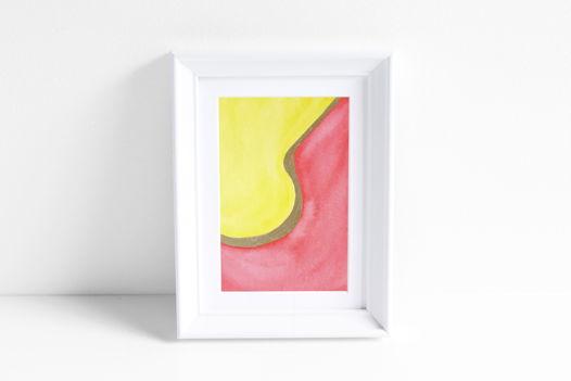 """Акварельный рисунок """"Лучи цвета: персиковый №1"""""""