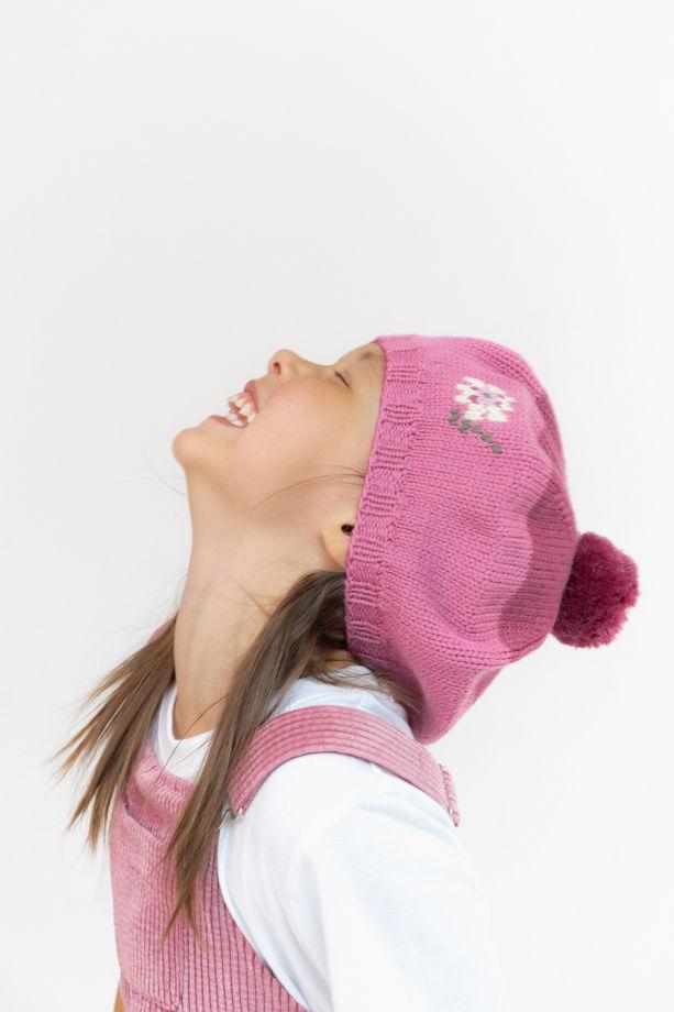 """Розовый берет для девочки """"Гвоздичка"""""""