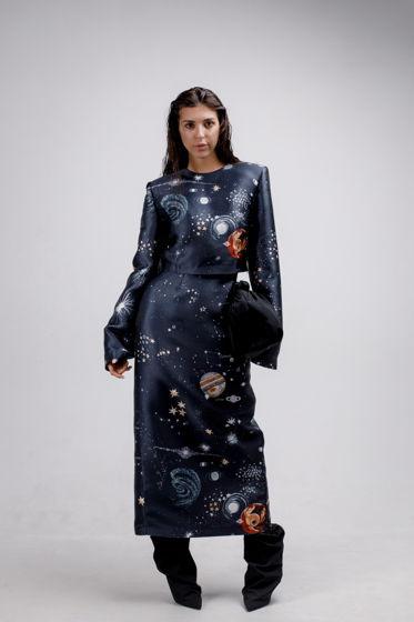 Костюм YNT топ с массивным плечом и юбка карандаш из лимитированной ткани Valentin (перламутровый подклад)