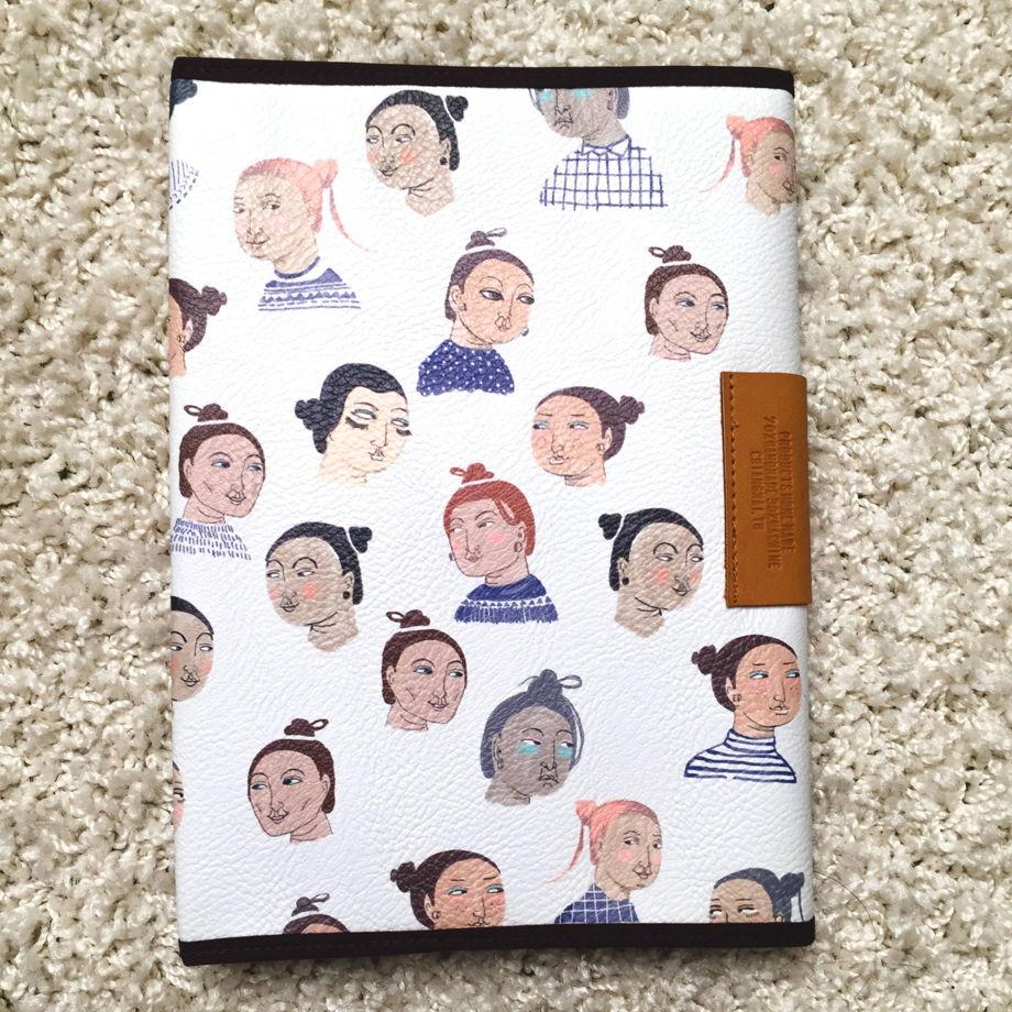 Блокнот с обложкой из искусственной кожи, рисунок женские лица